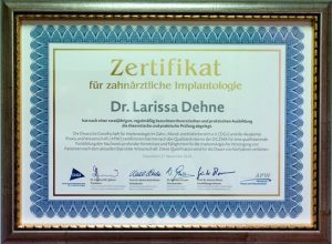 Zertifikat DGI Dr. Larissa Dehne